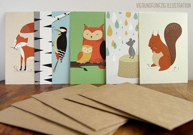 """5er Set """"Tiere des Waldes"""" Grußkarten mit Umschlag VIERUNDFÜNFZIG"""