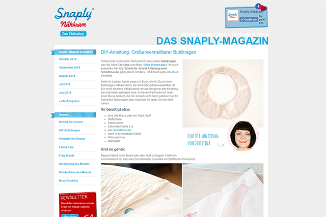 Snaply Magazin Bubikragen April 2014
