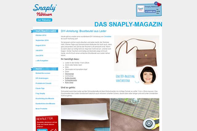 Snaply Magazin Leder Brustbeutel Juli 2014