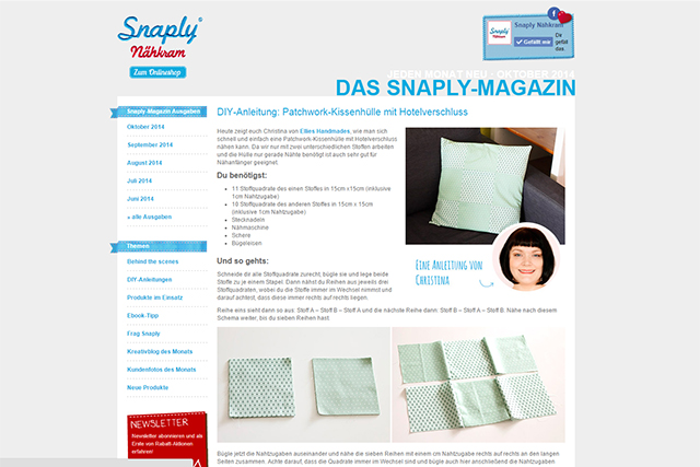 Snaply Magazin Patchwork Kissen September 2014