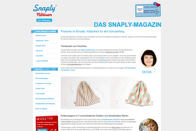 Snaply Magazin Turnbeutel August 2014