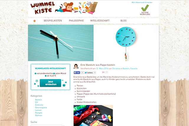 Wummelkiste Blog Wanduhr basteln März 2014