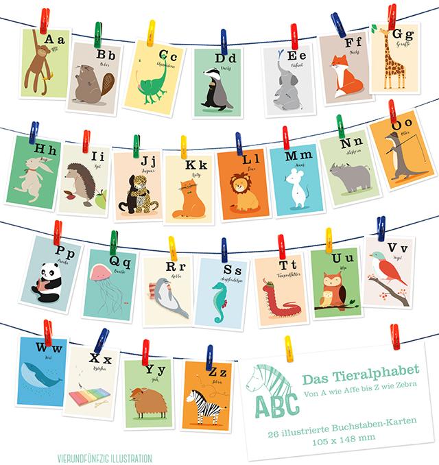 Tier-ABC Karten-Set VIERUNDFÜNFZIG
