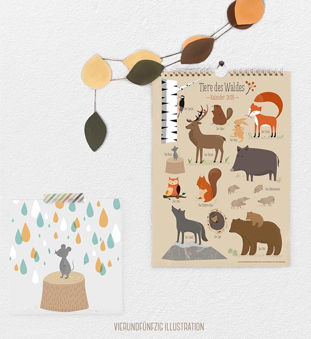 """""""Tiere des Waldes"""" Kalender VIERUNDFÜNFZIG"""
